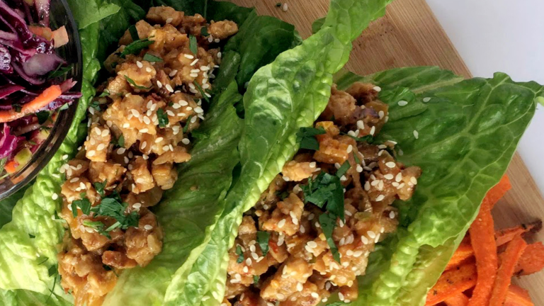 Protein-Packed Asian Tempeh Lettuce Wraps